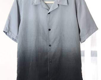 Grey Ombre Button Up Short Sleeve Shirt