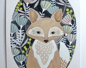 Fox Illustration Painting - Watercolor Art - 5x7 Archival Print - Little Fox Leo by Marisa Redondo