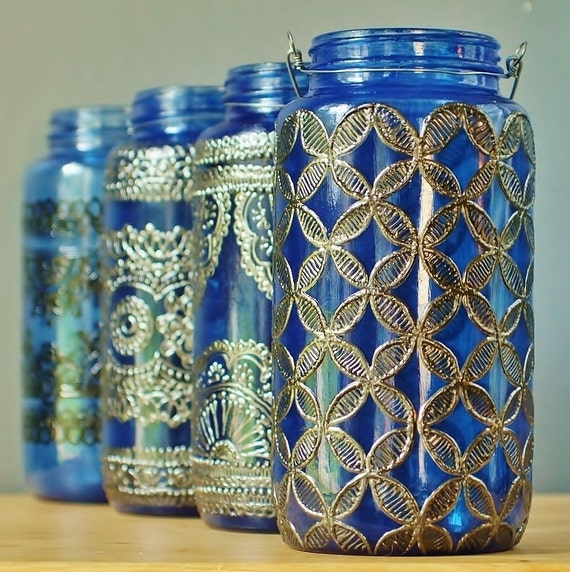 large 32 oz jar moroccan lantern sapphire blue glass with. Black Bedroom Furniture Sets. Home Design Ideas