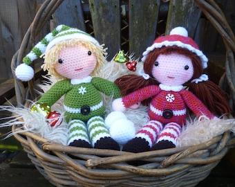 Beau and Belle Christmas Winter Dolls, Amigurumi Crochet Pattern.