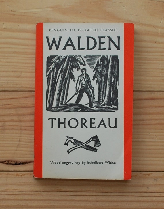 Penguin Book Covers Vintage ~ Vintage penguin book walden by henry david thoreau