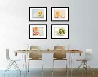 Food Photography - Kitchen Art - Citrus - Set of Four (4) Fruit Photos - Fine Art Photography Prints - Kitchen/Dining Room Decor