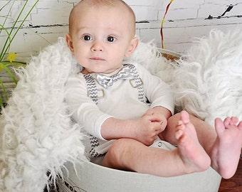 Baby BOY grey chevron suspenders, tie or bow tie one-piece | newborn | first birthday | photography
