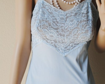 Vintage Light Blue Lace Top Slip Dress - 34 Small