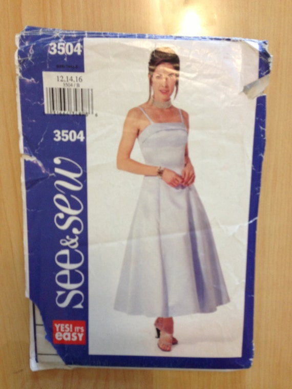 Butterick See and Sew Sewing Pattern 3504 Misses/Misses Petite Dress Size 12 - 16 Sale