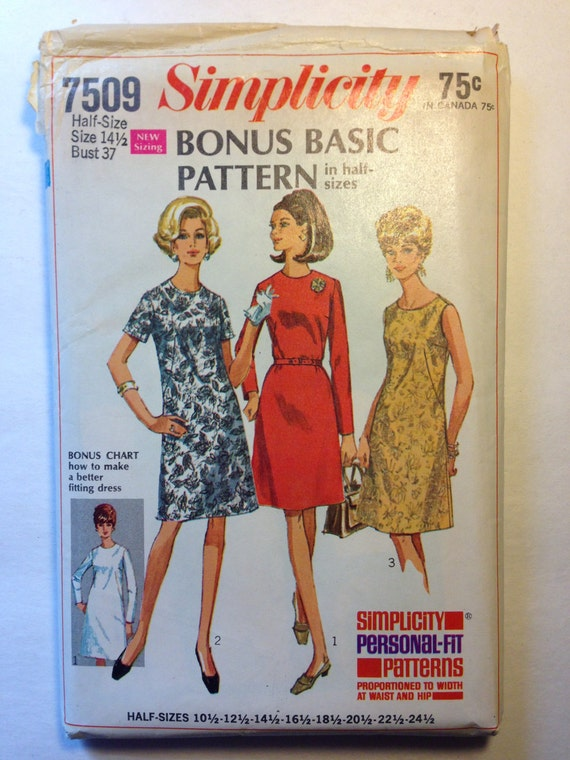 Simplicity Sewing Pattern 7509 60s Misses Bonus Basic Dress in Half Sizes Sale