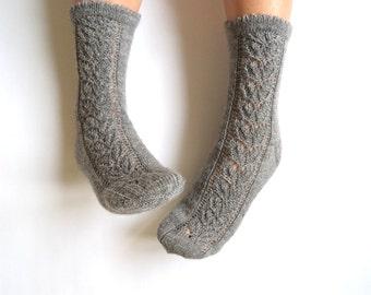 Hand knit lace socks. Wool socks. Lace socks. Elegant hand knit leaf lace socks. Highest quality sock-wool. Bed socks. House socks.