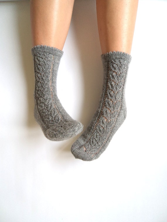 Knitting Pattern Wool Socks : Hand knit lace socks. Wool socks. Lace socks. Elegant hand