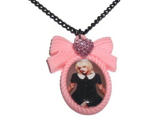 Courtney Love Necklace, Pink Hole Cameo Necklace, Grunge, 90's Icon