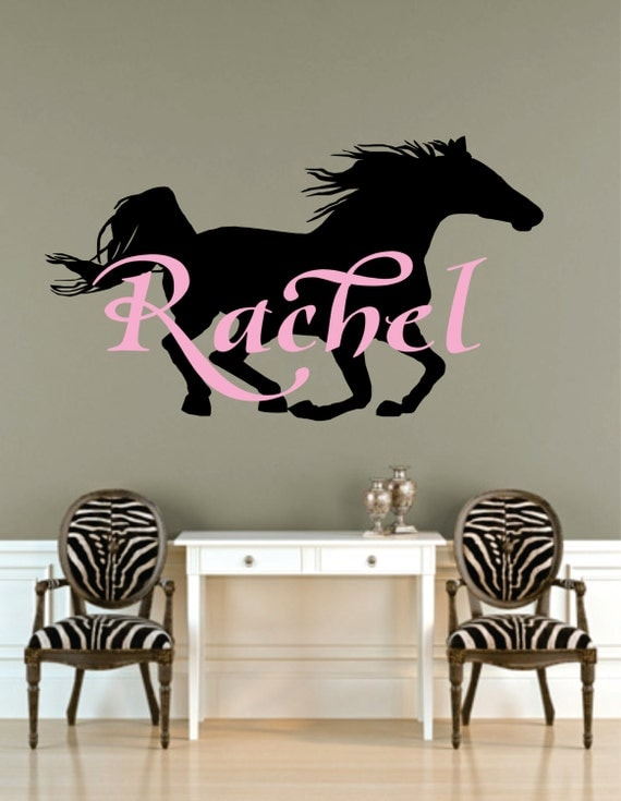 Wall Art Horse Decals : Horse art name decal with by