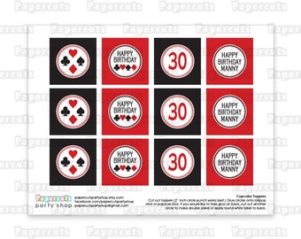 Printable DIY Black and Red Casino Night Poker Playing Card Theme Personalized Happy Birthday Cupcake Toppers