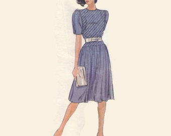 Vogue American Designer Albert Nipon 80s Sewing Pattern Drop Waist Dress Flared Skirt Diagonal Pleated Bodice Casual Bust 32