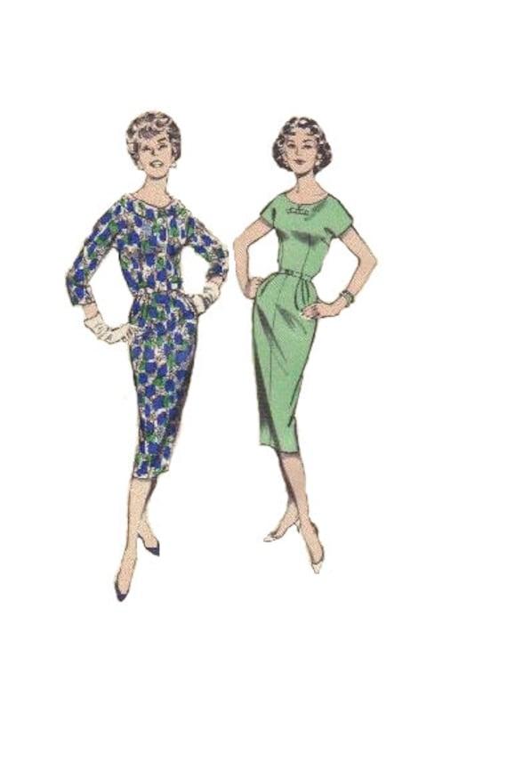 Butterick 8600 Sewing Pattern 1960s Mad Men Style Wiggle Dress Secretary Sheath Scoop Neck Cropped Jacket Bolero Bust 34 Uncut FF