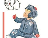McCall's 1623 Photocopy of Vintage 50s Toddlers Jacket, Newsboy Cap & Overalls - Embroidery Transfer Bear and Elephant Sewing Pattern Size 1