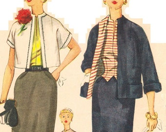 Simplicity 4562 Vintage 50s  Misses Two-Piece Suit and Vest-Weskit-Blouse Sewing Pattern Bust 34