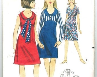Butterick 3695 Vintage 60s Empire Dress with Scoop Neck and Rounded Collar Sewing Pattern Size 11 Bust 31 1/2