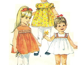 Simplicity 8016 Vintage 60s Super Cute Toddler Girls Empire Dress Sundress Sewing Pattern Size One Half 6 Months