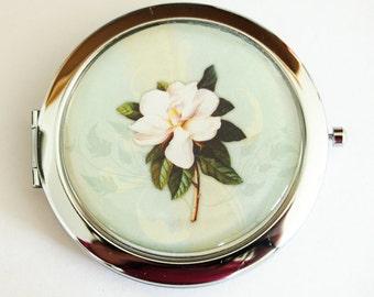 Flower compact mirror, mirror, pocket mirror, purse mirror, compact mirror, floral mirror, green, gift for her  (2205)
