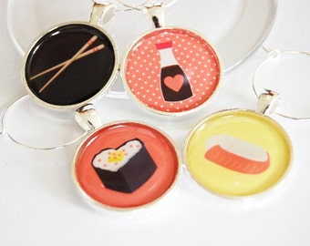 Sushi Wine Charms, Wine Glass Charms, Wine Charms, silver plate, barware, sushi, entertaining, table setting (2302)
