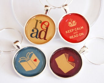 Book Club Wine Charms, Wine Glass Charms, book club, Keep Calm Read On, read, silver plate, barware, entertaining, table setting (2315)