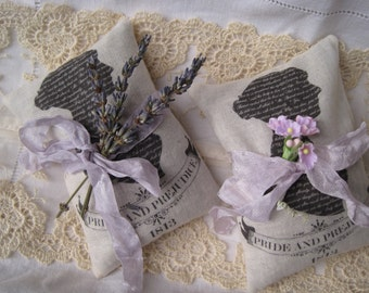 2 Jane Austen Pride and Prejudice lavender sachets, FREE USA SHIPPING, gift set, mothers day, book club, wedding, bridal,  shower, teacher