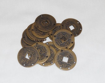 Ancient Chinese Coin, Ching Dynasty, 25mm with Drilled Holes - 2 PCS