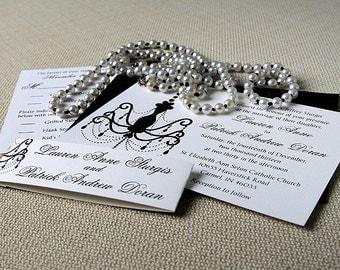 Chandelier Wedding Invitation Suite- Black and White