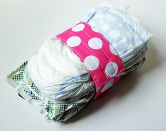 Bright Pink Diaper Strap - Pink Large White Polka Dots