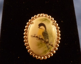 Soft Green Bird Silver Brooch