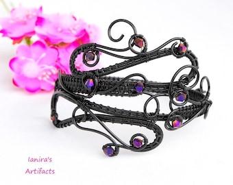 Black wire bracelet ~ Gothic jewelry ~ Wire wrapped