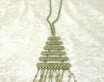 Signed Lucien Piccard Silver Tone Tiered Necklace Haute Couture