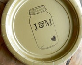 Gold Personalized Mason Jar Wedding Paper Cake Dessert Plates with Large Initials and Tiny Heart - Set of 20