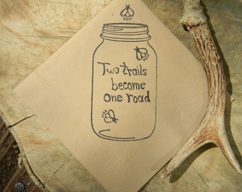 Rustic Light Burlap Brown Mason Jar Two Trails Become One Road Firefly Wedding Cocktail Napkins- set of 50