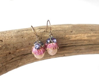 Sweet Faceted Glass Rhinestone Earrings, Vintage Fabric Pink Earrings, Flower Girl, Vintage Earrings