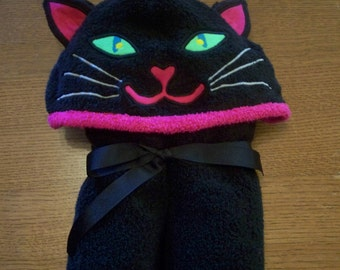 Infant Cat Hooded Towel with 2 burp cloths and 2 washcloths - Free Personalization