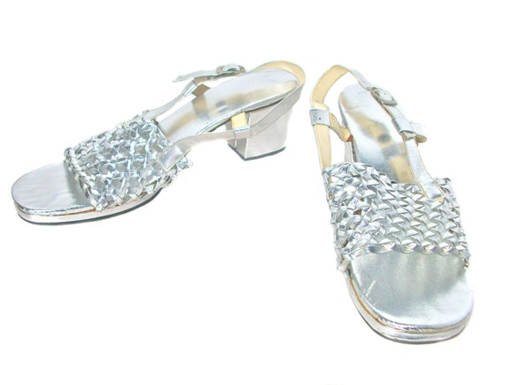 1970s Silver Mesh Slingback Sandals - Disco Party Heels - Chrome Metallic - Studio 54 - Size 9