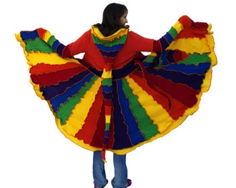 Elf Coat, Upcycled, Recycled, Sweater Coat, Rainbow