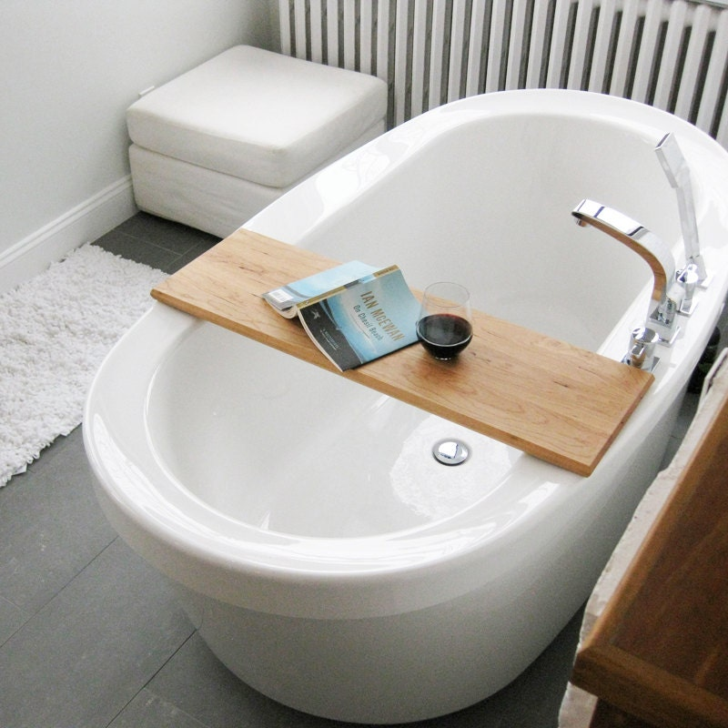 Wood bath tub caddy platter tray of salvaged wood spa natural for Bathroom tray