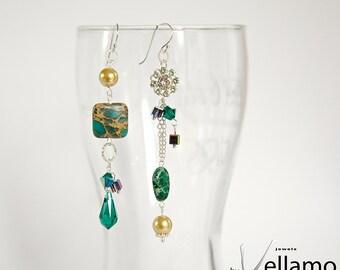 Emerald forest long modern asymmetrical dangle sterling silver earrings with green jasper, Swarovski teardrop, cubes, flower, pearls
