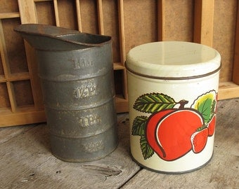 Summer Peach and Strawberries Vintage Metal Tin Canister