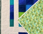 Modern color block baby quilt
