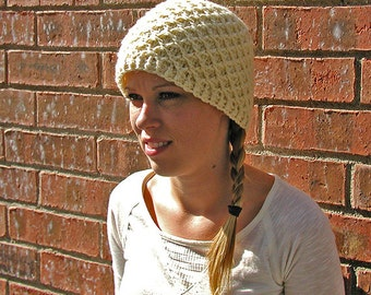 Crocheted Cap with Waffle Texture