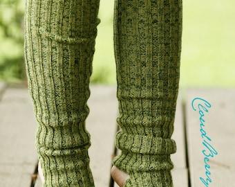 Yoga socks spats / dance socks / leg warmers / boot socks Green knit comfortable warm colorful Accessories Women europeanstreetteam legwear