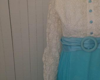 Vintage 1960 Empire Waist Satin and Daisy Maxi Dress