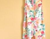 vtg spandex floral bodysuit, dance wear, aerobics outfit, xs-small