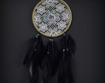 Dream Catcher- Lace with Turquoise and Amethyst Stones