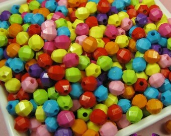 6mm Round FACETED SPACER BEADS in Colorful Resin Acrylic Bead Assortment (100 pieces)