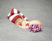 Newborn Hat, Valentine Photo Prop, Infant Red and White Elf Hat  with a Tassel.