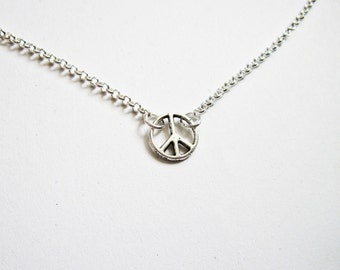 Peace Necklace, Peace Sign Jewelry, Peace Sign Necklace, Silver Charm Necklace, peace symbol, Peace and Love, silver peace necklace, tiny