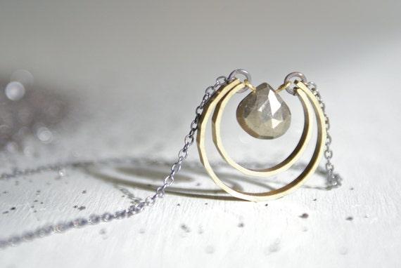 Pyrite Moon Drop necklace
